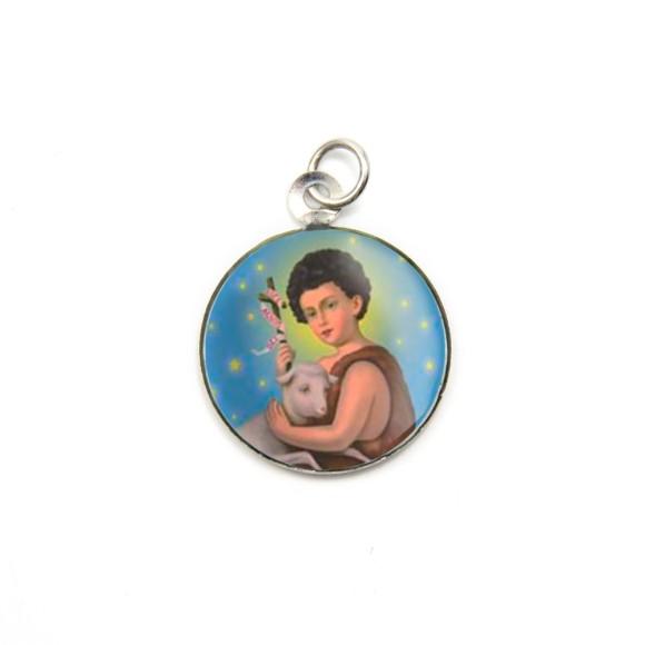 MD105216P3 - Medalha de Alumínio Redonda c/ 3un. São  João Batista - 2,5x2cm