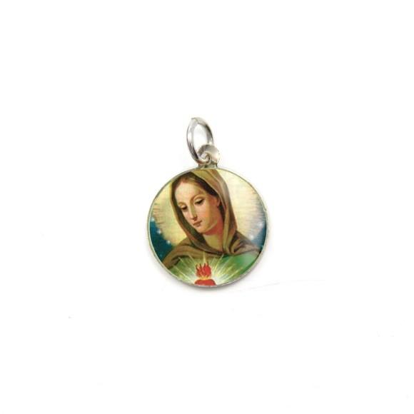 MD104001P5 - Medalha de Alumínio Redonda c/ 5un. Chama do Amor - 1,5X1,5cm