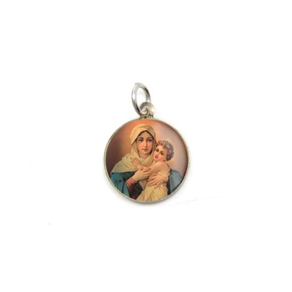 MD104005P5 - Medalha de Alumínio Redonda c/ 5un. Mãe Rainha - 1,5x1,5cm