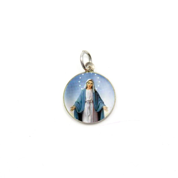 MD520040P5 - Medalha N. Sra. Das Graças Alumínio Redonda c/ 5un. - 1,5x1,5cm
