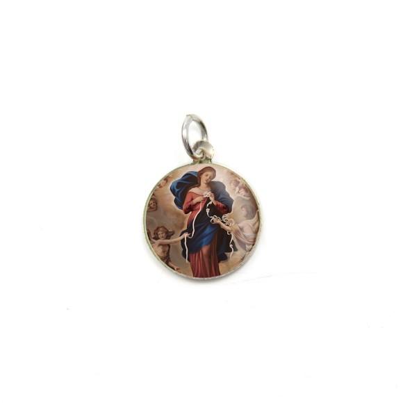 MD104025P5 - Medalha de Alumínio Redonda c/ 5un. N. Sra. Desatadora de Nós - 1,5x1,5cm