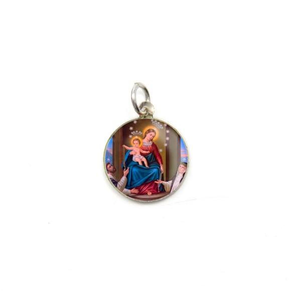 MD104032P5 - Medalha de Alumínio Redonda c/ 5un. N. Sra. Do Rosário - 1,5x1,5cm