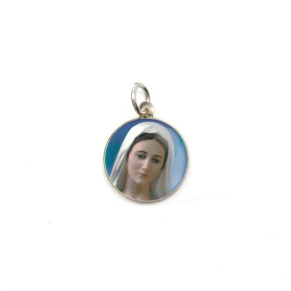 MD104035P5 - Medalha de Alumínio Redonda c/ 5un. Rainha da Paz - 1,5x1,5cm