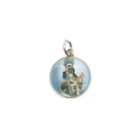 MD104042P5 - Medalha de Alumínio Redonda c/ 5un. Santa Efigênia - 1,5x1,5cm