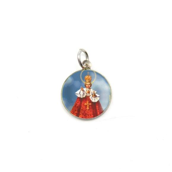 MD104206P5 - Medalha de Alumínio Redonda c/ 5un. Menino Jesus de Praga - 1,5x1,5cm