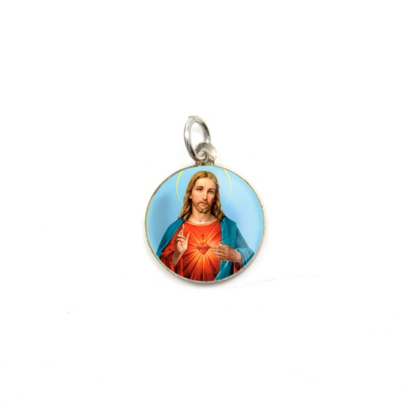 MD104211P5 - Medalha de Alumínio Redonda c/ 5un. Sagrado Coração de Jesus - 1,5x1,5cm