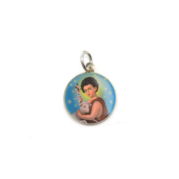 MD104227P5 - Medalha de Alumínio Redonda c/ 5un. São  João Batista - 1,5x1,5cm