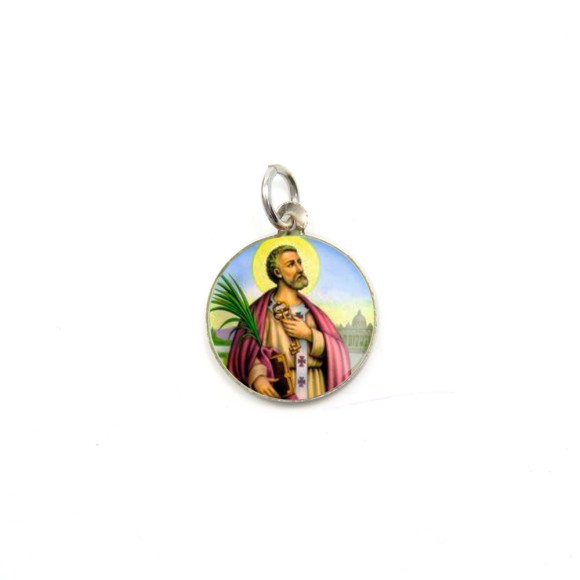 MD104237P5 - Medalha de Alumínio Redonda c/ 5un. São  Pedro - 1,5x1,5cm