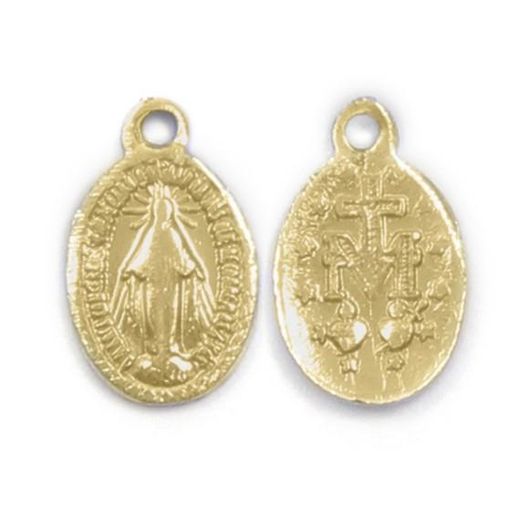 MD520056P20 - Medalha N. Sra. Das Graças Alumínio Dourada c/ 20un. - 2x1,3cm