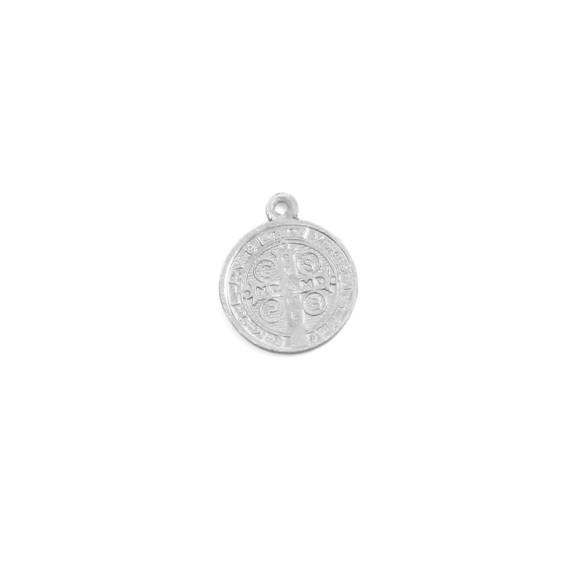 MD101400P20 - Medalha de Alumínio c/ 20un. São Bento Prateado - 1,4x1,6cm