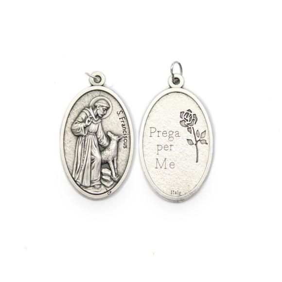 MD1190102 - Medalha São Francisco de Assis Italiana Oval Prateada - 4,5x2,6cm