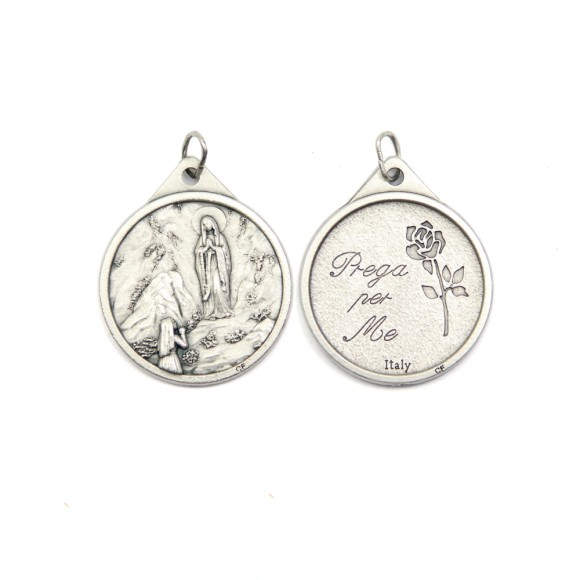 MD119402 - Medalha N. Sra. De Lourdes Italiana Redonda Prateada - 3,8x3cm