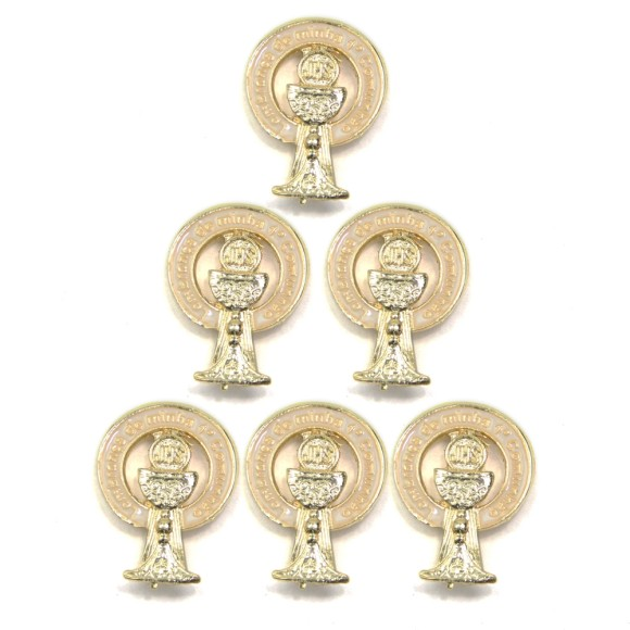 BO112021P6 - Botton Primeira Eucaristia Cálice c/ 6un. Dourado - 2,5x1cm