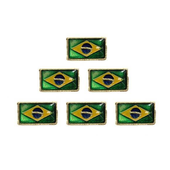 BO18001P6 - Botton Bandeira do Brasil c/ 6un. - 1,3x2cm