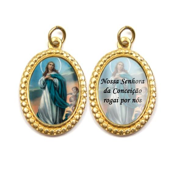 MD106001P3 - Medalha de Alumínio Dupla Oval c/ 3un. N. Sra. Da Conceição - 3x2cm