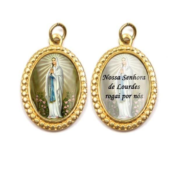 MD106004P3 - Medalha de Alumínio Dupla Oval c/ 3un. N. Sra. De Lourdes - 3x2cm