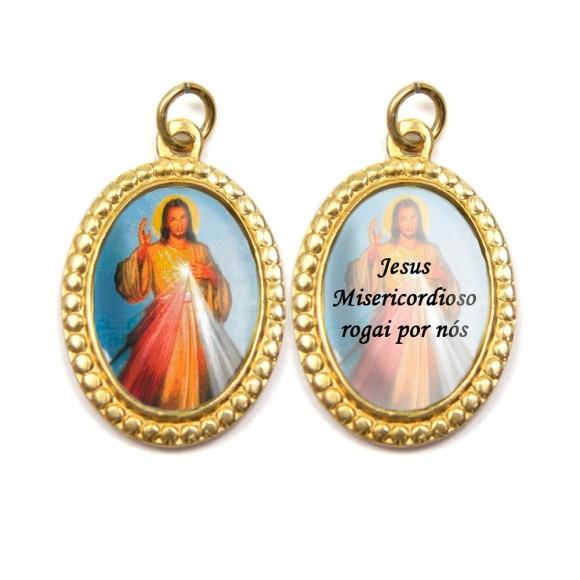 MD106200P3 - Medalha de Alumínio Dupla Oval c/ 3un. Jesus Misericordiso - 3x2cm