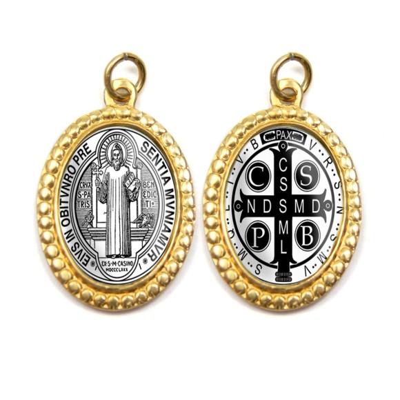 MD106202P3 - Medalha de Alumínio Dupla Oval c/ 3un.  São Bento - 3x2cm