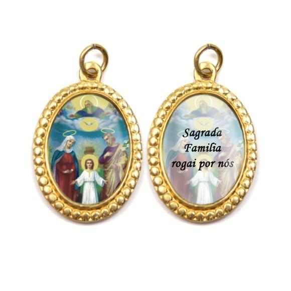 MD106402P3 - Medalha de Alumínio Dupla Oval c/ 3un. Sagrada Família - 4x2cm