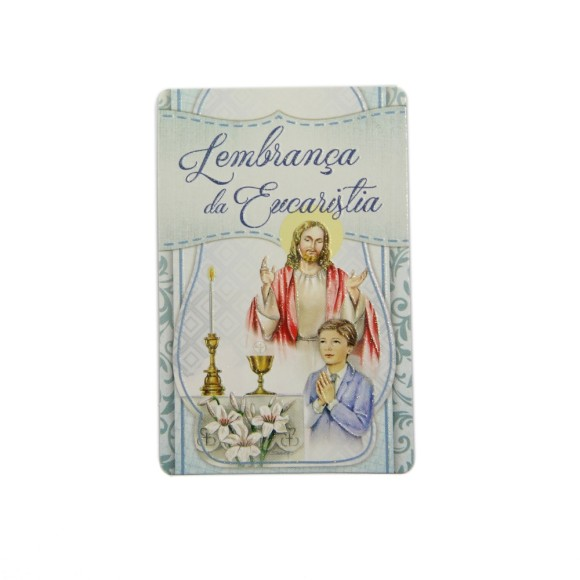 CT112013P12 - Cartão c/ 12un. Lembrança Primeira Eucaristia Menino - 8,5x5,5cm