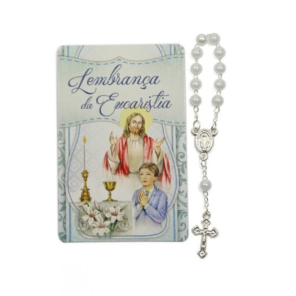CT112014 - Cartão Lembrança Primeira Eucaristia Menino c/ Dezena - 8,5x5,5cm
