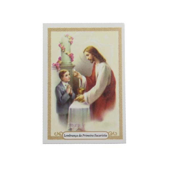 CT112040P12 - Cartão c/ 12un. Lembrança Primeira Eucaristia Menino - 9,5x6,5cm