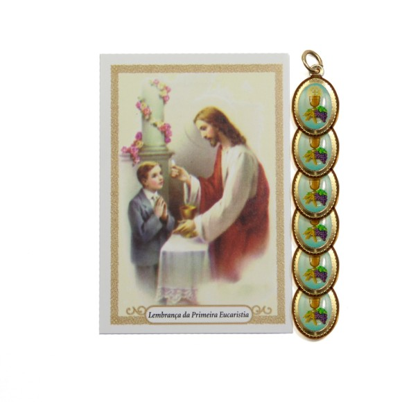 CT112041P6 - Cartão c/ 6un. Lembrança Primeira Eucaristia Menino e Medalha Dupla Eucaristia - 9,5x6,5cm