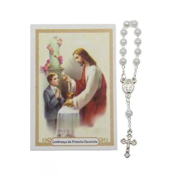 CT112042 - Cartão Lembrança Primeira Eucaristia Menino c/ Dezena - 9,5x6,5cm