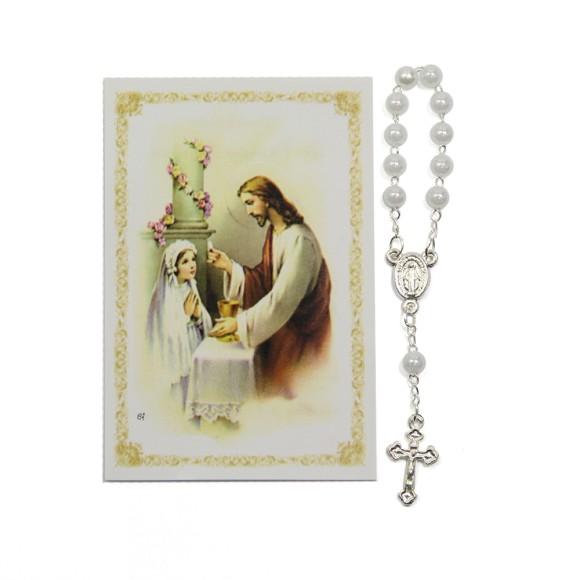 CT112052 - Cartão Lembrança Primeira Eucaristia Menina c/ Dezena - 9,5x6,5cm