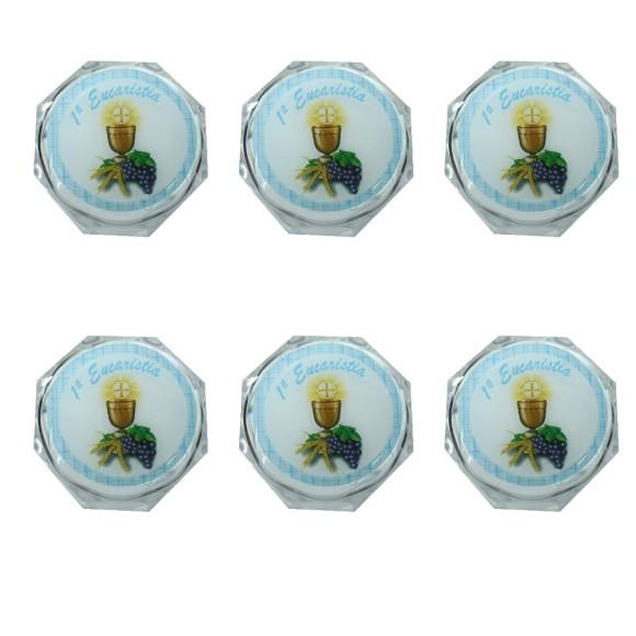 EM112001P6 - Caixa de Acrílico Sextavada Primeira Eucaristia c/ 6un. Azul - 3,5X3,5cm