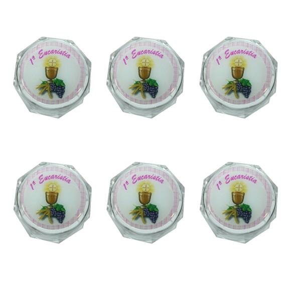 EM112002P6 - Caixa de Acrílico Sextavada Primeira Eucaristia c/ 6un. Rosa - 3,5X3,5cm