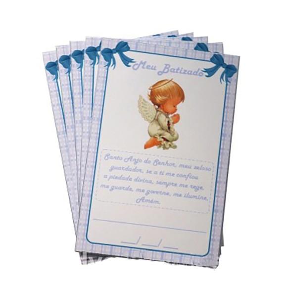 CT1401P12 - Cartão Batismo Azul c/ 12un. - 7,5x5cm