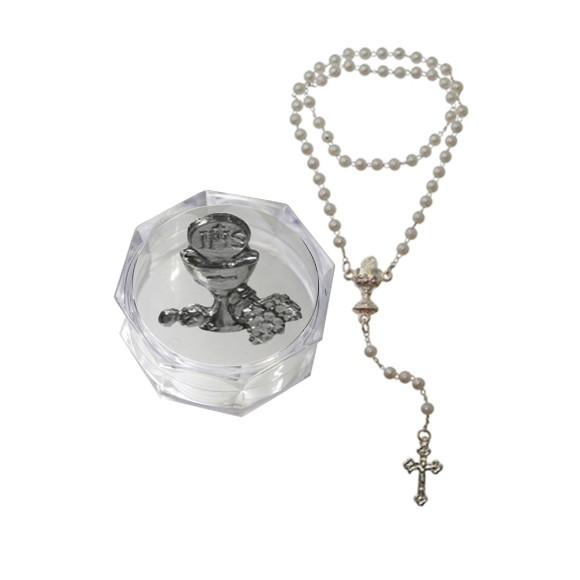 TE112014 - Caixa de Acrílico Sextavada c/ Medalha e Terço de Pérola n°4 Primeira Eucaristia - 3,5X3,5cm