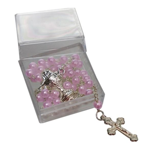 TE112022 - Caixa de Acrílico c/ Terço de Pérola Rosa Primeira Eucaristia - 3x3cm
