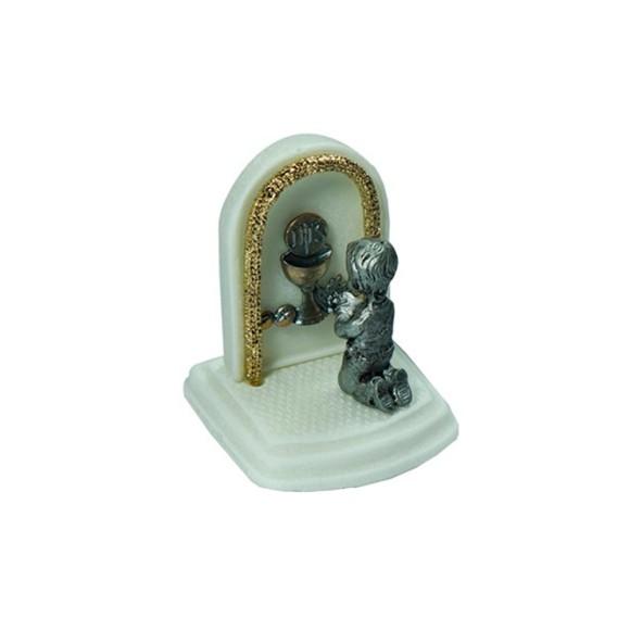 PD112100 - Pedestal Lembrança Primeira Eucaristia Menino - 6x6cm