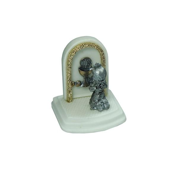 PD112101 - Pedestal Lembrança Primeira Eucaristia Menina - 6x6cm