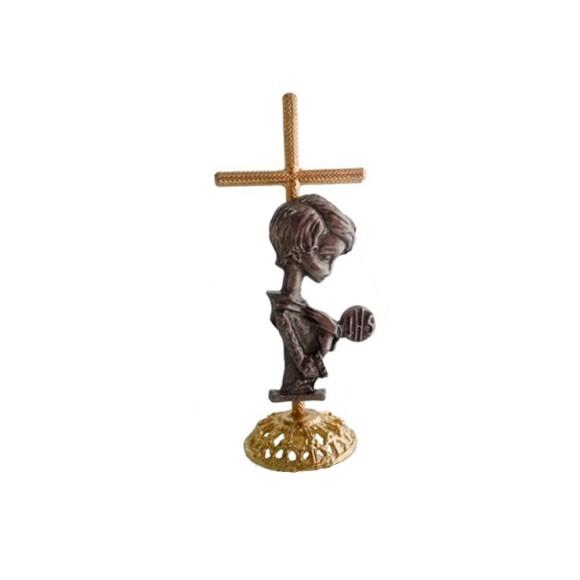 PD112120 - Pedestal Lembrança Primeira Eucaristia Cruz Menino - 8x3,5cm