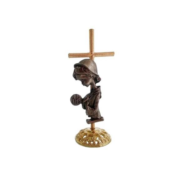 PD112121 - Pedestal Lembrança Primeira Eucaristia Cruz Menina - 8x3,5cm