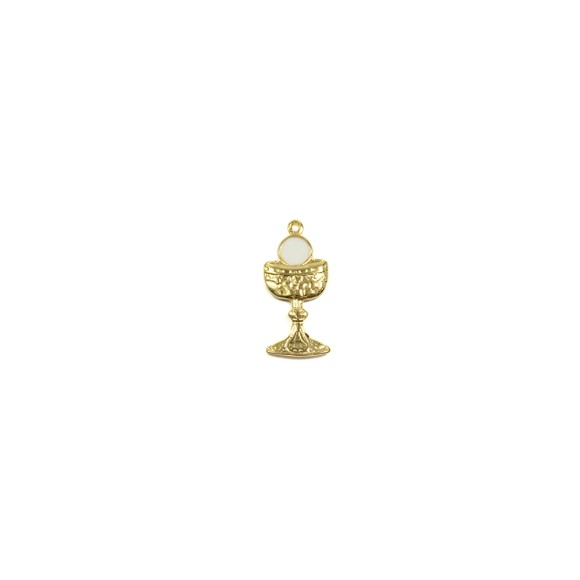 MD112040 - Pingente Primeira Eucaristia Dourada - 3,5x1,5cm