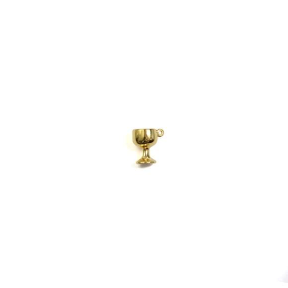 PG112060P2 - Pingente Cálice Primeira Eucaristia Dourada c/ 2un. - 1,5x1,3cm