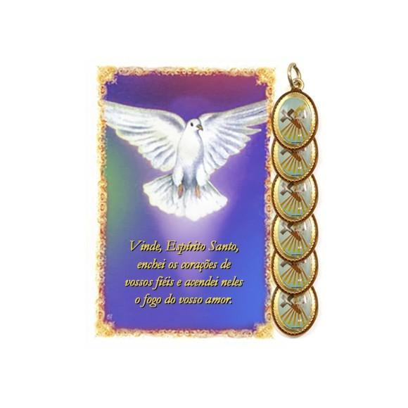 CT34021P6 - Cartão Lembrança e Medalha Dupla Crisma Roxo c/ 6un. - 9,5x6,5cm