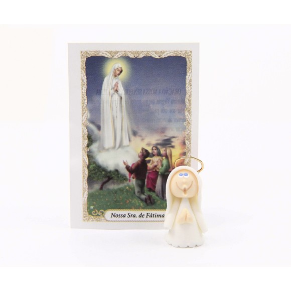 ST16003 - Nossa Senhora de Fátima de Biscuit c/ Oração - 6x4cm