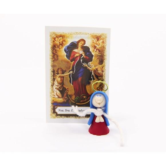 ST16004 - Nossa Senhora Desatadora dos Nós de Biscuit c/ Oração - 6x4cm