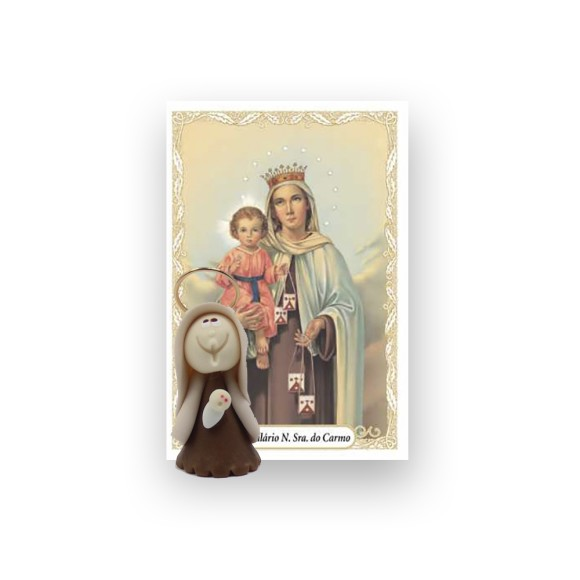 ST16005 - Nossa Senhora Do Carmo de Biscuit c/ Oração - 6x4cm