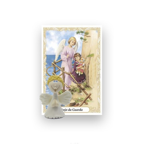 ST16042 - Anjo Branco de Biscuit c/ Oração - 6x4cm