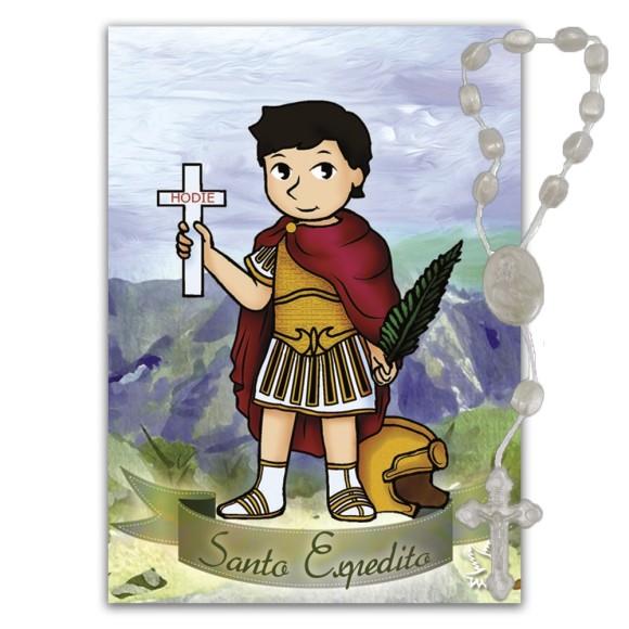 IA40405 - Imã Santo Expedito c/ Dezena de Acrílico (Estilizado) - 7x5cm
