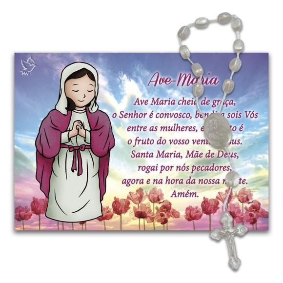 IA4050 - Imã Ave Maria c/ Dezena de Acrílico e Oração (Estilizado) - 7x10cm