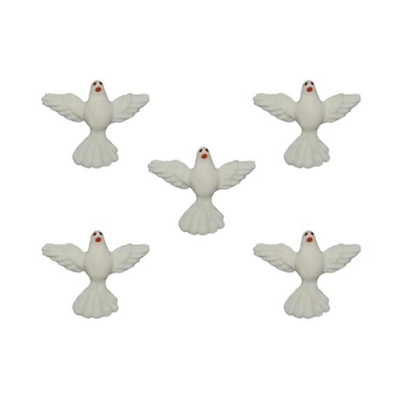 DI16002P5 - Divino Espírito Santo de Biscuit Branca c/ 5un. - 3x2,5cm