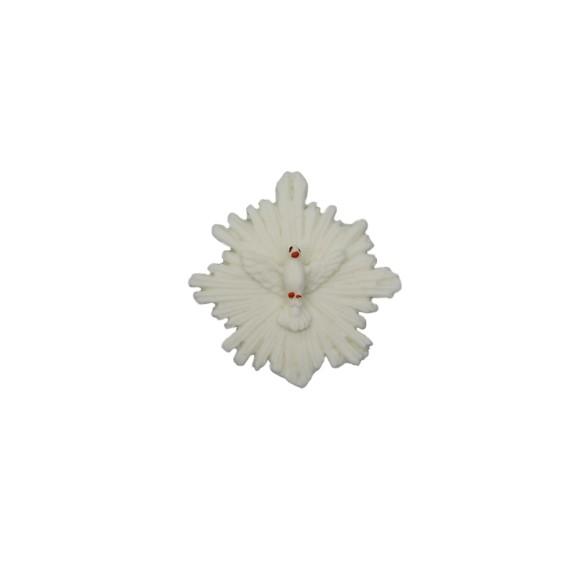 DI16105 - Divino Espírito Santo Resplendor Biscuit Branca - 4,5x4,5cm