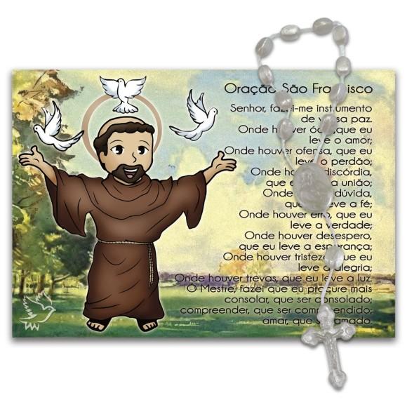IA40453 - ÚLTIMAS PEÇAS Imã São Francisco de Assis c/ Dezena de Acrílico e Oração (Estilizado) - 7x10cm
